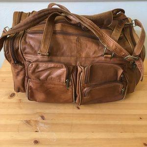 Vintage Colombian Leather Weekender Travel Bag